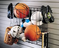 organized living activity organizer sports rack with basket