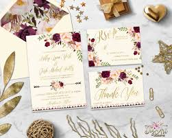 burgundy wedding invitation printable marsala floral wedding