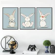 2017 nordic wall painting minimalism rabbit canvas painting kawaii