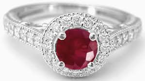 ruby diamond ring ruby ring with diamond halo and filigree detail gr 5486