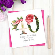 Ruby Anniversary Invitation Cards Personalised Floral Ruby 40th Wedding Anniversary Card By Chi Chi