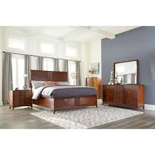 brown cherry mid century modern 6 piece california king bedroom