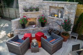 Stacked Stone Outdoor Fireplace - webster groves backyard makeover poynter landscape