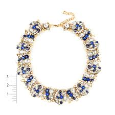 necklace blue stone images Shop eye candy la 10 inch shimmering blue stone wreath necklace jpg