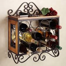 rustic wall mounted wine and steamware rack wooden shelves eight