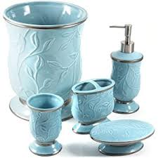 5 Piece Bathroom Set by Seafoam Blue Ceramic 5 Piece Bathroom Accessory Set Home