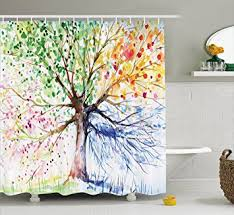 Navy And Red Shower Curtain Amazon Com Colorful Tree Four Seasons Shower Curtain Berry Green