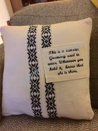a shirt memory pillow made from a shirt of your loved one that is