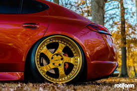red porsche panamera visual styling tweaks on porsche panamera fitted with gold