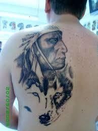 wash indian wolf back piece portrait tattoo