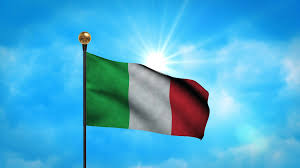 Flag Of Itali Italy Flag Waving Over Blue Sunny Sky With Some Flying Clouds 4k