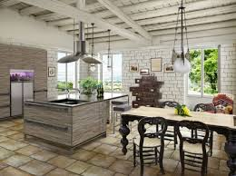 rustic small country kitchen with modern furniture and false
