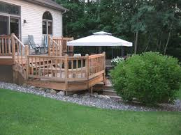 white umbrella in the i rocks landscaping around house with wooden