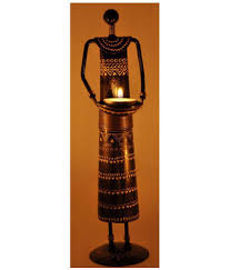 lal haveli home decor showpiece candle tea light holder iron brown