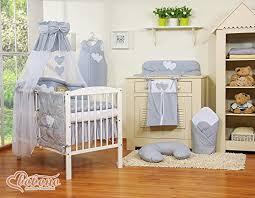 Cot Bed Canopy Baby Nursery Grey U0026 White Polka Dot 11pcs Bedding Set Cot Bed