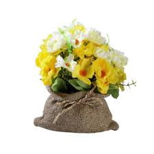 yellow madam flowers in sack artificial flowers leaf artificial