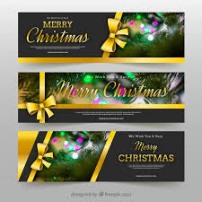 merry christmas banner merry christmas banners with golden bows vector free