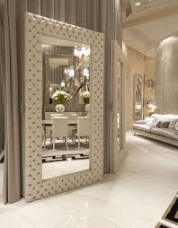 Luxury Design by Italian Designer Quilted Leather Floor Mirror So Elegant Sharing