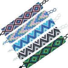 blue seed wide assorted seed bead pattern bracelet