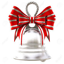 silver bells with a bow isolated on white stock photo