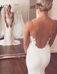 backless lace wedding dresses fashion v neck lace appliques sheer back mermaid wedding dress