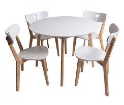 chaise blanc et bois ensemble 1 table et 4 chaise blanc laqué et bois naturel dina