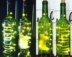 Wine Bottles With Lights Etched Wine Bottles Etsy