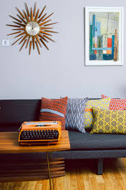 mid century modern decor with funky knit pillows by seven gauge