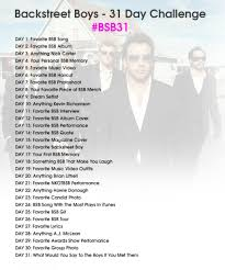 Challenge Guys Backstreet Boys 31 Day Challenge