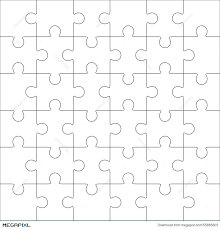 jigsaw puzzle blank template 36 pieces illustration 55885603