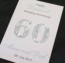 60th wedding anniversary greetings large handmade personalised 60th diamond wedding anniversary card