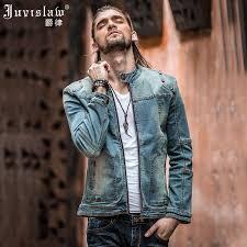 Light Jean Jacket Vintage Mens Ripped Denim Jacket Brand Designer Fashion Washed