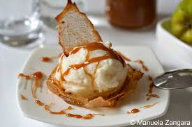 dessert baskets pear in pear wafer basket with salted caramel sauce
