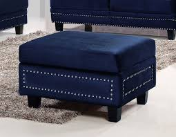 meridian furniture ferrara 655navy ott modern navy velvet storage
