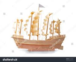Wooden Nautical Flags Homemade Wooden Ship Paper Sails Flag Stock Photo 71108455