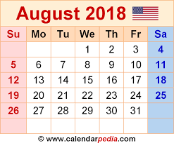 august 2018 calendars for word excel pdf
