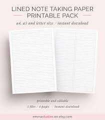 printable lined paper editable lined paper student note taking printable set a4 a5 and