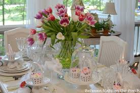 Easter Table Decorations by Easter Table Spring Setting With Tulip Centerpiece And Pottery