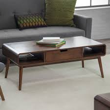 furniture dark wood mid century coffee table with gray sofa and