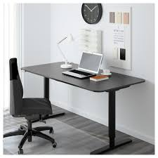 bekant desk sit stand black brown white ikea