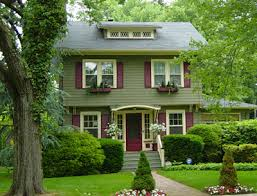 exterior paint inspiration sage green with cream trim and red