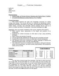 freshman composition syllabus template and sample course schedule