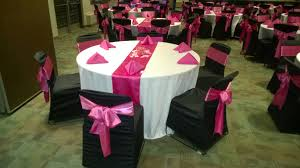 table sashes black chair covers with hot pink satin sashes traditional bow