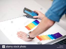 color spectrometer measuring color with spectrometer tool stock photo royalty free