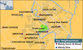 map of bagdad iraqi central baghdad city of neighborhoods