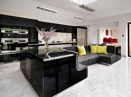 stylish kitchen a high gloss stylish kitchen island with built in sofa home design
