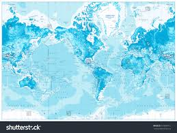 Map America by Physical World Mapamerica Centeredphysical World Map Stock Vector