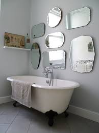 bathroom retro bathroom decor corner stone tub near teak wood a display hang to