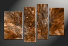 4 piece brown canvas oil paintings abstract large pictures