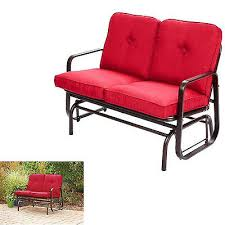 outdoor glider bench steel swing 2 seat red cushions patio porch
